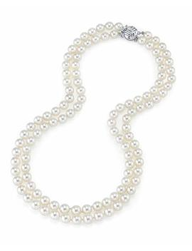 """The Pearl Source 14 K Gold 7 8mm Aaa Quality Double Strand White Freshwater Cultured Pearl Necklace For Women In 18 19"""" Princess Length by The+Pearl+Source"""