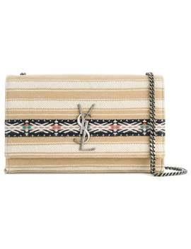 Striped Logo Shoulder Bag by Saint Laurent