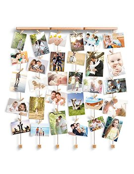 Love Kankei Multi Photo Frames/Wall Decorations With Letter Shmily(Or Available Family) Wall Hanging Display   Baby Collage Photo Frames With 6 Lines And 30 Pegs by Love Kankei