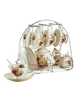 Ufengke 15 Piece European Ceramic Tea Sets, Bone China Coffee Set Metal Holder, White Red Rose Flower Painting by Ufengke Ts