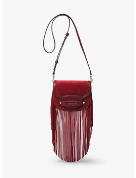 Cary Small Fringed Suede Saddle Bag by Michael Michael Kors