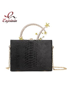 Luxury Fashion Diamond Pu Leather Meteor Metal Handle Female Party Clutch Bag Handbags Ladies Chain Purse Box Style Evening Bag by Enjoinin
