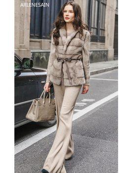 Arlenesain Custom 2018 Imported Mink Fur Knit Cashmere Stitching Imported Whole Skin Vest Mink Fur Coat by Arlenesain