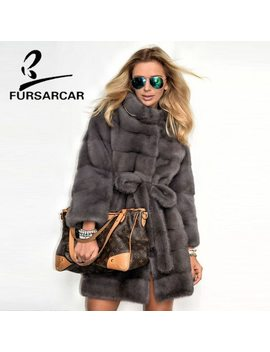 Fursarcar 2018 Real Mink Fur Coats Women With Fur Collar Whole Skin Winter Warm Jacket Female Luxury Mink Fur Coat Hot Sale by Fursarcar