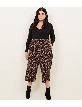 Curves Brown Leopard Print Cropped Trousers by New Look
