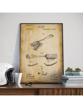 Fork Print| Gift For Mom| Gift For Cook| Christmas Gift| Cafe Wall Decor| Patent Prints| Kitchen Wall Decor| Housewarming Gifts by Etsy
