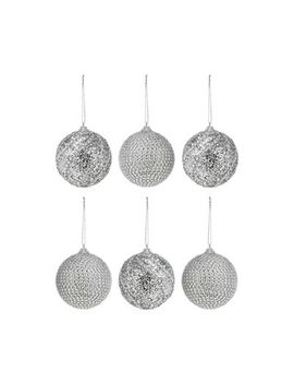 Debenhams   Pack Of 6 Silver Diamante Baubles by Debenhams