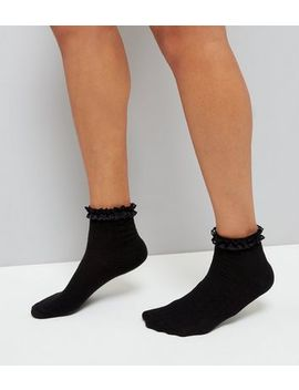 Black Frill Trim Cable Knit Ankle Socks by New Look