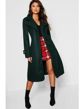 Horn Buckle Belted Wool Look Coat by Boohoo