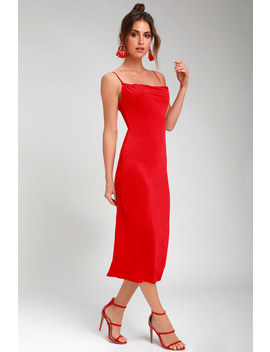 Shara Red Cowl Neck Midi Slip Dress by Lulus