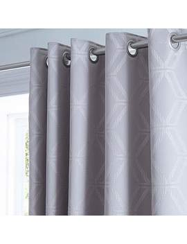 Geo Jacquard Grey Thermal Blackout Eyelet Curtains by Dunelm