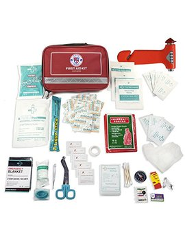 Always Prepared First Aid Medical Kit In Red Fabric Bag With Reflective Strip (100 Pieces) by Always Prepared