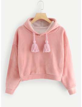 Drawstring Solid Hoodie by Romwe