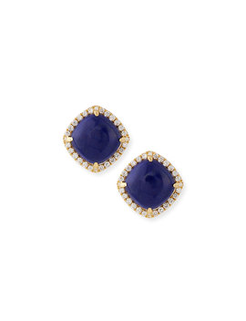 18 K Gold Lapis & Diamond Stud Earrings by Frederic Sage