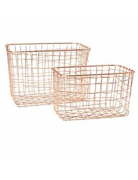 Set Of 2 Copper Wire Mesh Rectangular Baskets by Sass & Belle