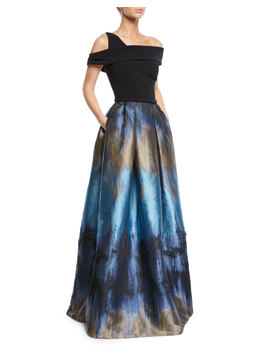 Off The Shoulder Ball Gown W/ Ombre Mikado Skirt & Pockets by Theia