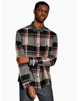 Black Denim Collar Check Slim Shirt by Topman