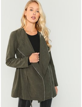 Waterfall Collar Coat by Shein