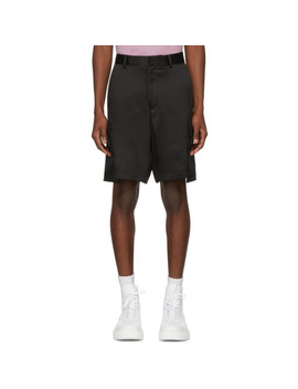 Black Silk Cargo Shorts by Versace