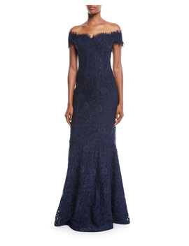 Off The Shoulder Lace Trumpet Evening Gown W/ Godet Skirt by Rickie Freeman For Teri Jon