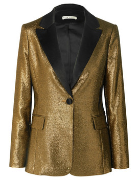 Robert Satin Trimmed Lurex Blazer by Alice + Olivia