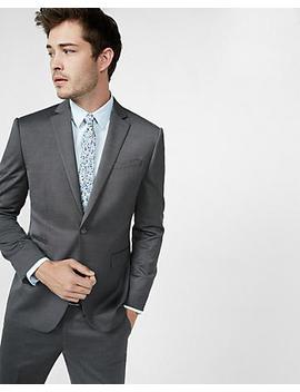 Slim Dark Gray Wool Blend Oxford Suit Jacket by Express