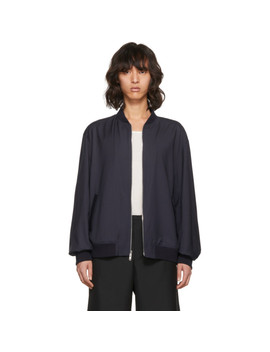 Blue Relaxed Wool Bomber Jacket by 3.1 Phillip Lim