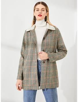 Contrast Fleece Collar Houndstooth Coat by Shein