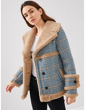Waterfall Collar Contrast Faux Fur Plaid Coat by Shein