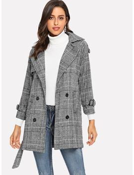 Tartan Plaid Tie Waist Coat by Shein