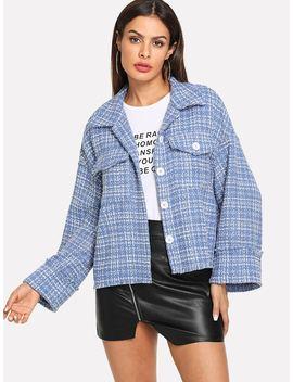 Drop Shoulder Buttoned Tweed Coat by Shein
