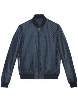 Reversible Gg Jacquard Nylon Bomber Jacket by Gucci