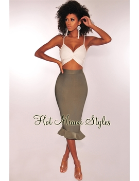 White Olive Bandage Cut Out Ruffle Hem Dress by Hot Miami Style