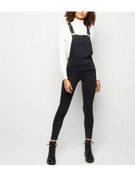 Tall Black Pocket Front Skinny Denim Dungarees by New Look