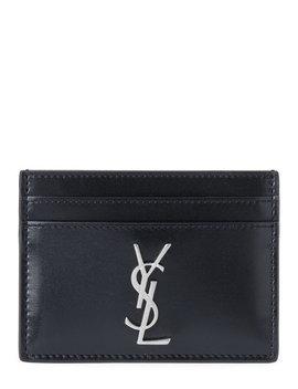 Black Monogram Leather Card Case by Saint Laurent