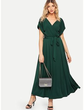 Rolled Sleeve Self Belted Solid Dress by Shein