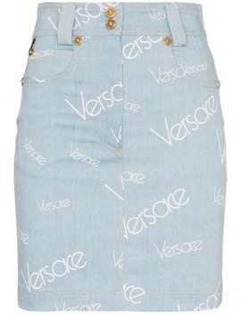 Vintage Logo Denim Skirt by Versace