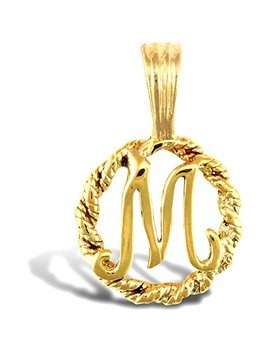 Jewelco London Solid 9ct Yellow Gold Rope Identity Initial Charm Pendant Letter M by Jewelco London