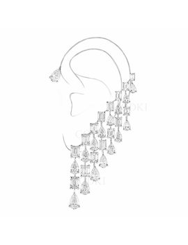 Godki Luxury Geometry Marvellous Aaa Cubic Zirconia A Master Piece Of Neo Jewelry Trendy Ear Bone Cuff Earring Single Piece by Godki
