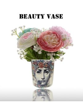Fornasetti Vase Nordic Fashion Beauty Face Cylindrical Jardiniere For Flowers Floral Art Accessories Desk Decoration Candle Cup by Fghgf