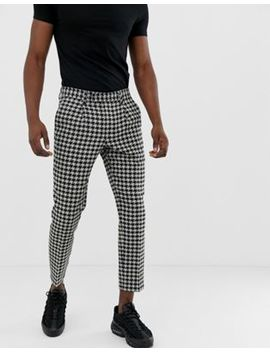 Asos Design Cigarette Pants With Large Dog Tooth In Gray by Asos Design