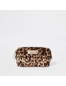 Beige Leopard Print Zip Top Makeup Bag by River Island