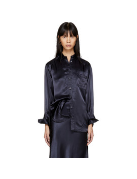 Navy Satin Sander Shirt by Sies Marjan