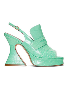 Green Croc Ellie Loafer Heels by Sies Marjan