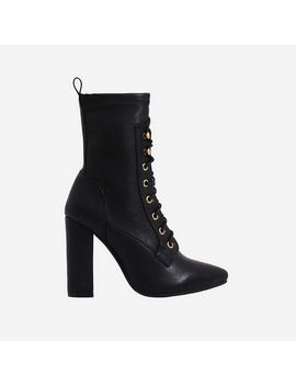 Maud Lace Up Block Heel Ankle Boot In Black Faux Leather by Ego