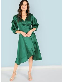 Belted Wrap Bishop Sleeve Ruffle Dress by Shein