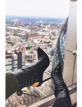 Black Faux Croc Patent Pointed Toe Shoe Boots   Nikoleta by Rebellious Fashion