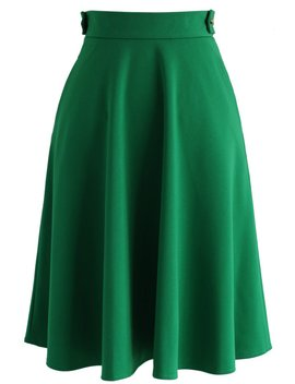 Basic Full A Line Skirt In Emerald Green by Chicwish