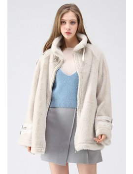 You Don't Say Faux Fur Coat In Cream by Chicwish