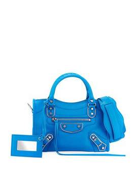 Metallic Mini City Leather Bag, Medium Blue by Balenciaga